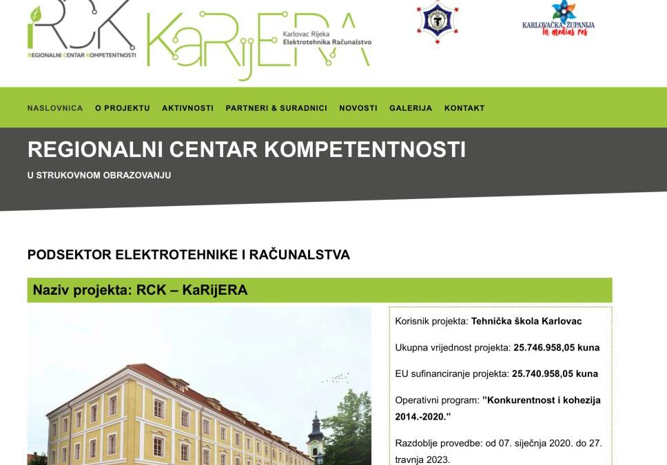 """Izrađena internet stranica projekta """"RCK KaRijERA"""""""