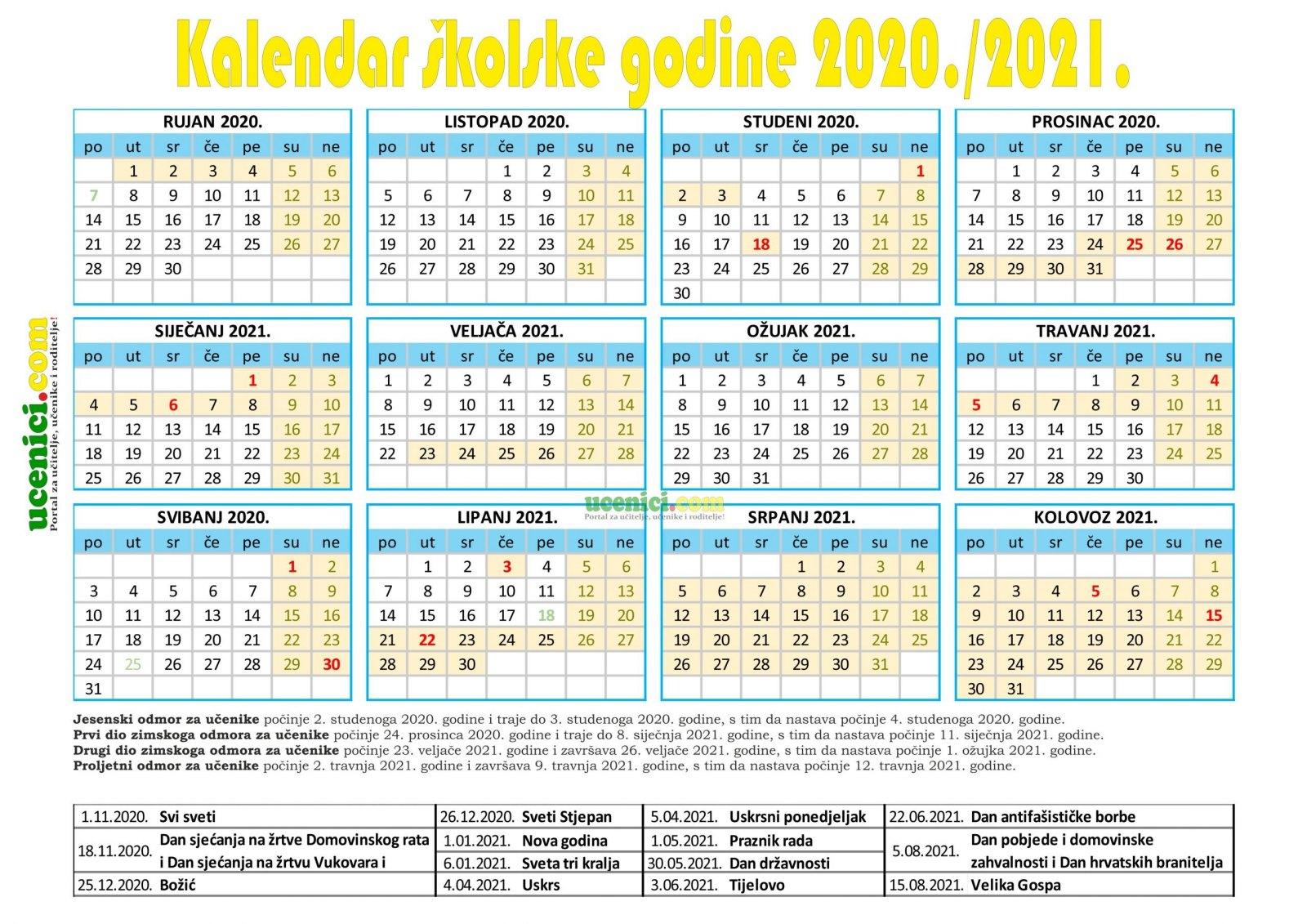 Kalendar rada u školskoj godini 2020/2021