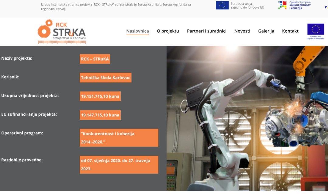 Internet stranica projekta STRuKA