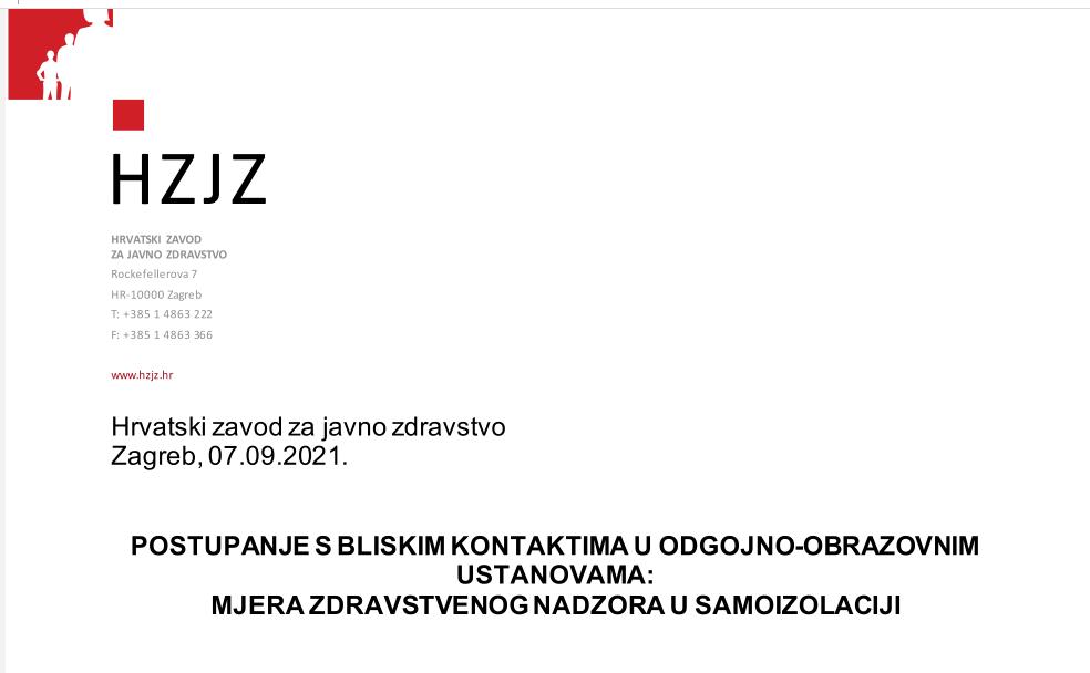 Upute Hrvatskog zavoda za javno zdravstvo o postupanju s bliskim kontaktima u odgojno obrazovnim ustanovama